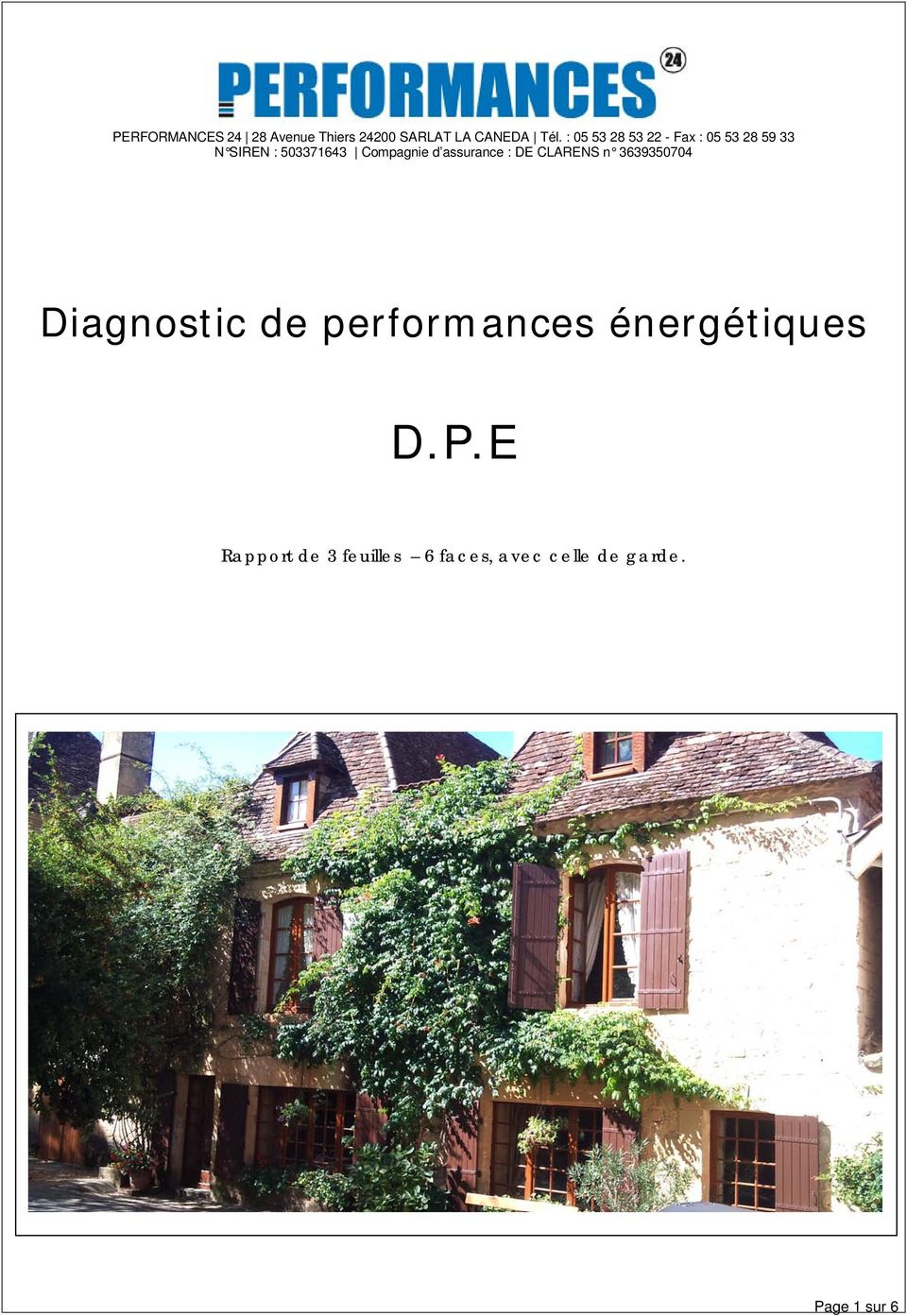 d assurance : DE CLARENS n 3639350704 Diagnostic de performances