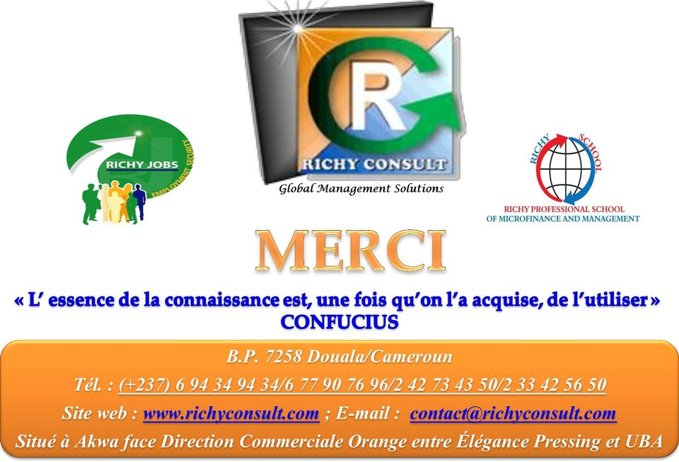 Site web : www.richyconsult.com ; E-mail : contact@richyconsult.