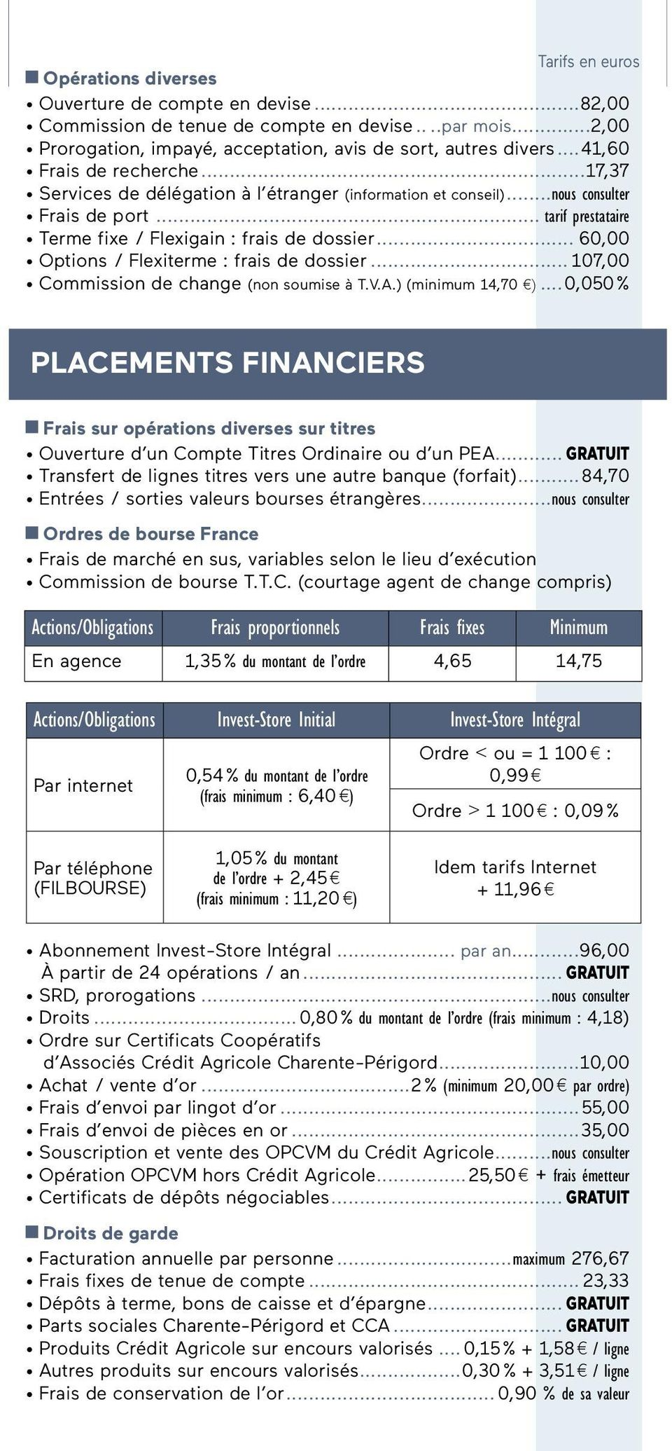 .. 60,00 Options / Flexiterme : frais de dossier... 107,00 Commission de change (non soumise à T.V.A.) (minimum 14,70 ).