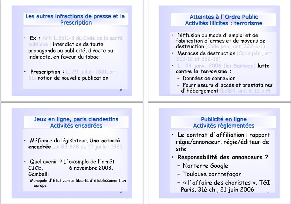 notion de nouvelle publication 45 Diffusion du mode d emploi et de fabrication d armes et de moyens de destruction (Code pén., art. 322-6-1) Menaces de destruction (Code pén., art. 322-12 et 322-13) L.