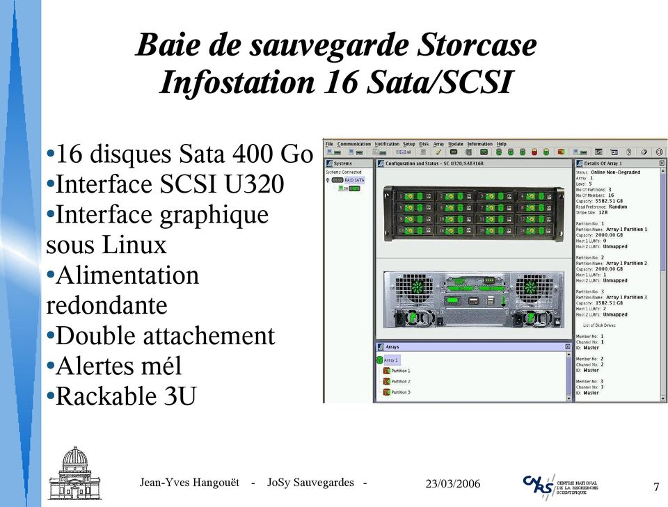 U320 Interface graphique sous Linux Alimentation