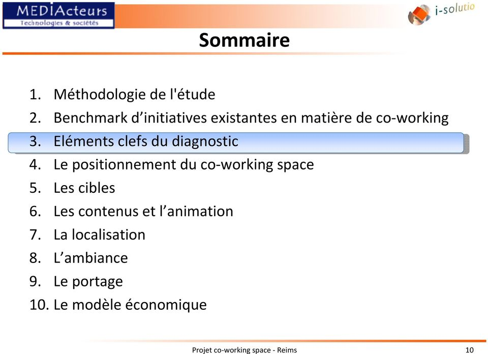 Eléments clefs du diagnostic 4. Le positionnement du co-working space 5.