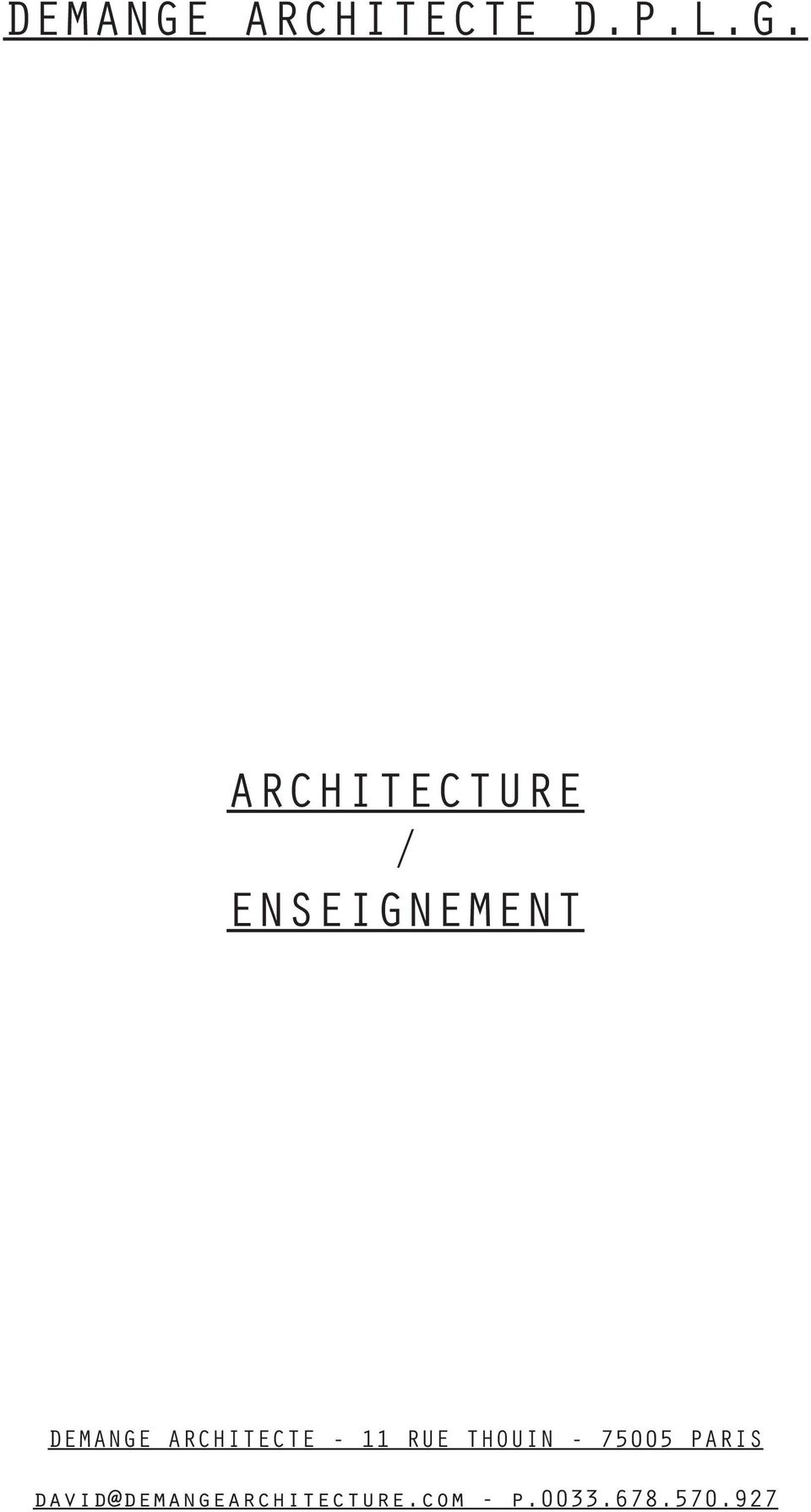 ARCHITECTURE / ENSEIGNEMENT