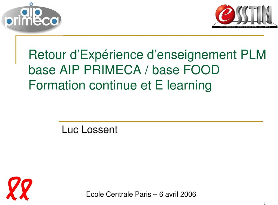 Formation continue et E learning Luc