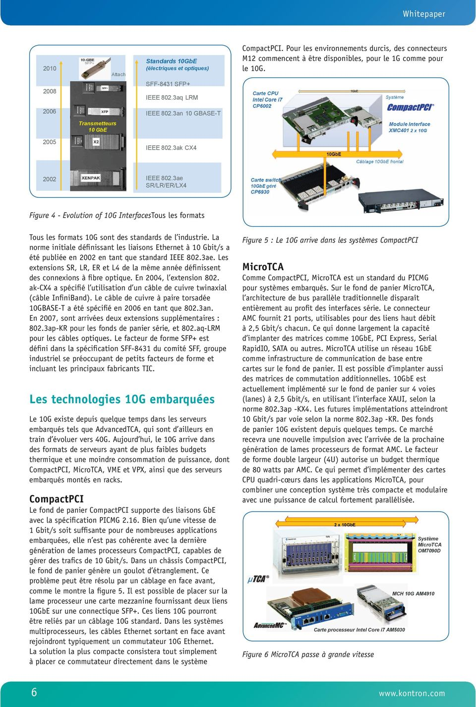 3ae SR/LR/ER/LX4 Figure 4 - Evolution of 10G InterfacesTous les formats Tous les formats 10G sont des standards de l industrie.