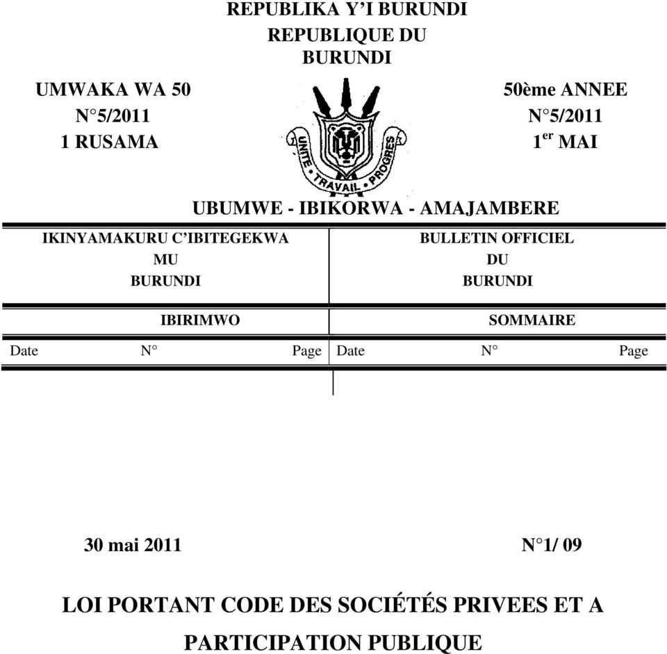 AMAJAMBERE BULLETIN OFFICIEL DU BURUNDI IBIRIMWO SOMMAIRE Date N Page Date N Page
