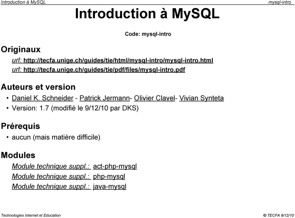 Introduction à MySQL - PDF