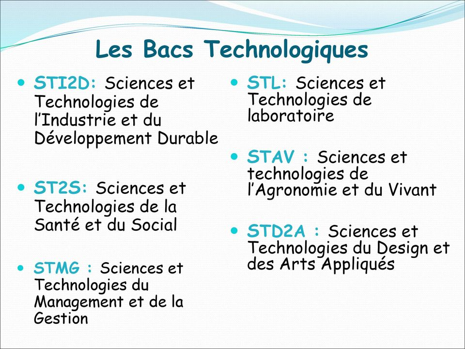du Management et de la Gestion STL: Sciences et Technologies de laboratoire STAV : Sciences et
