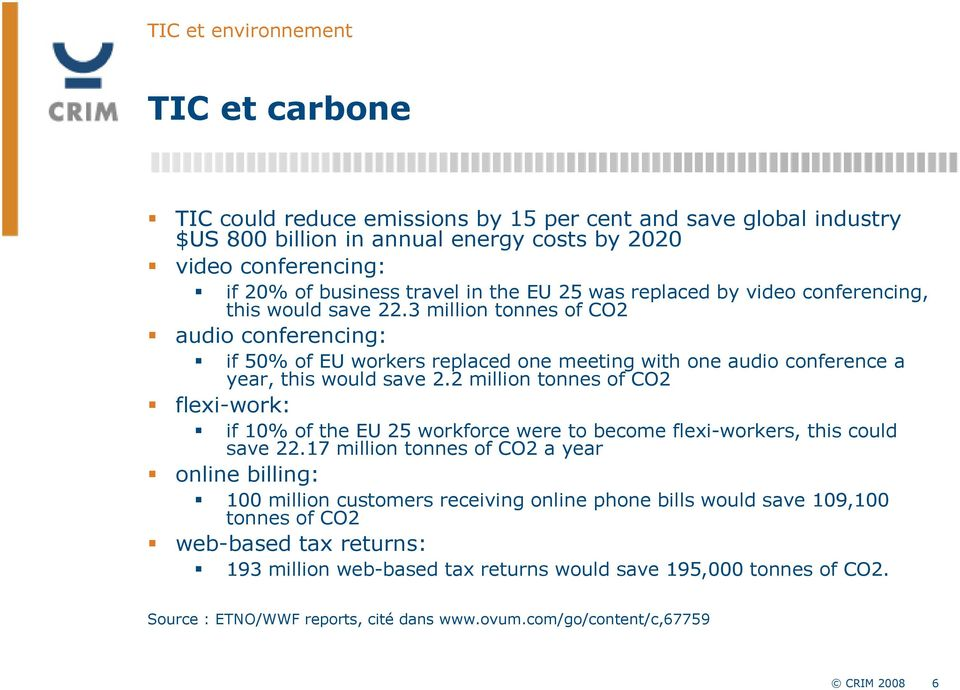 3 million tonnes of CO2 audio conferencing: if 50% of EU workers replaced one meeting with one audio conference a year, this would save 2.