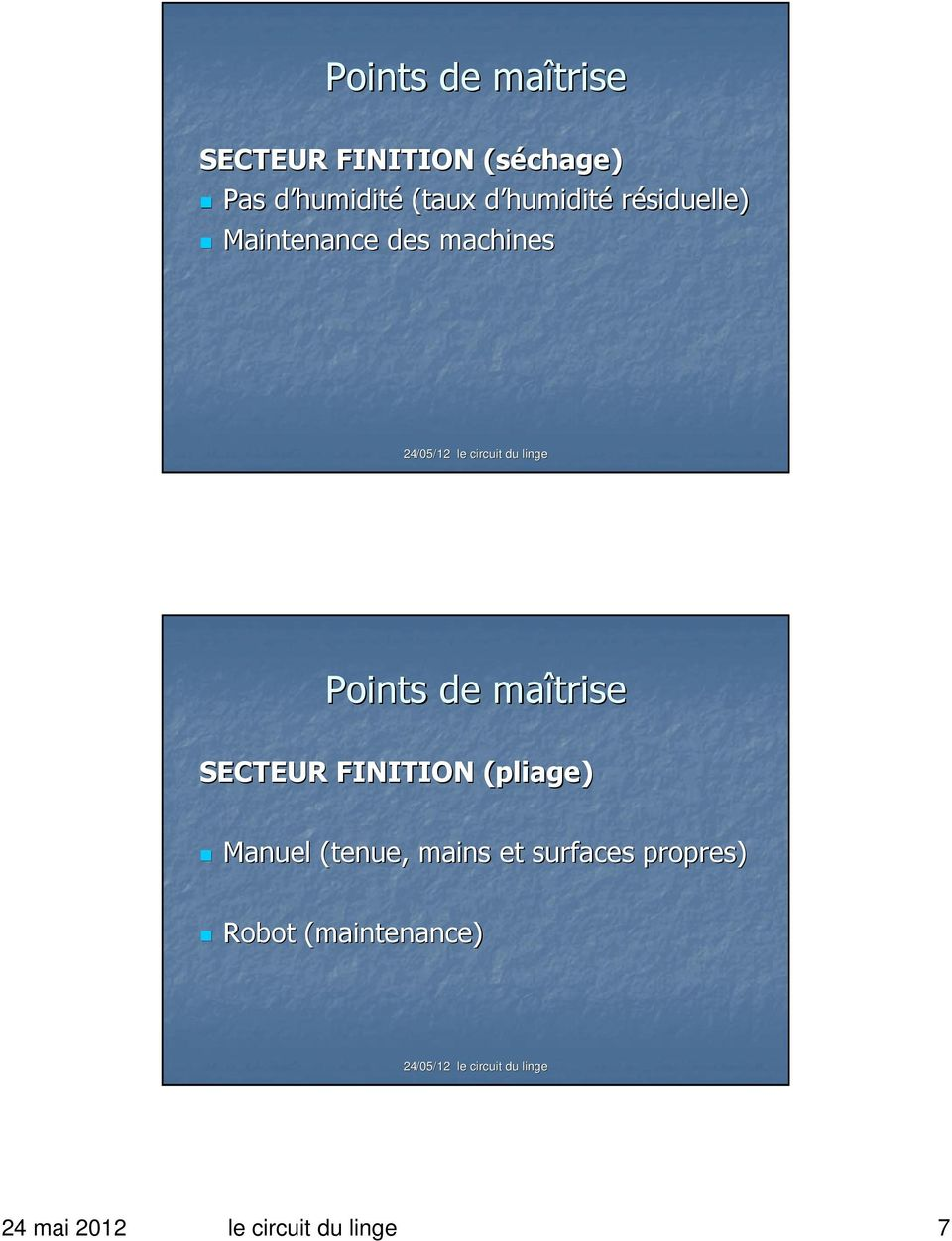 SECTEUR FINITION (pliage) Manuel (tenue, mains et surfaces