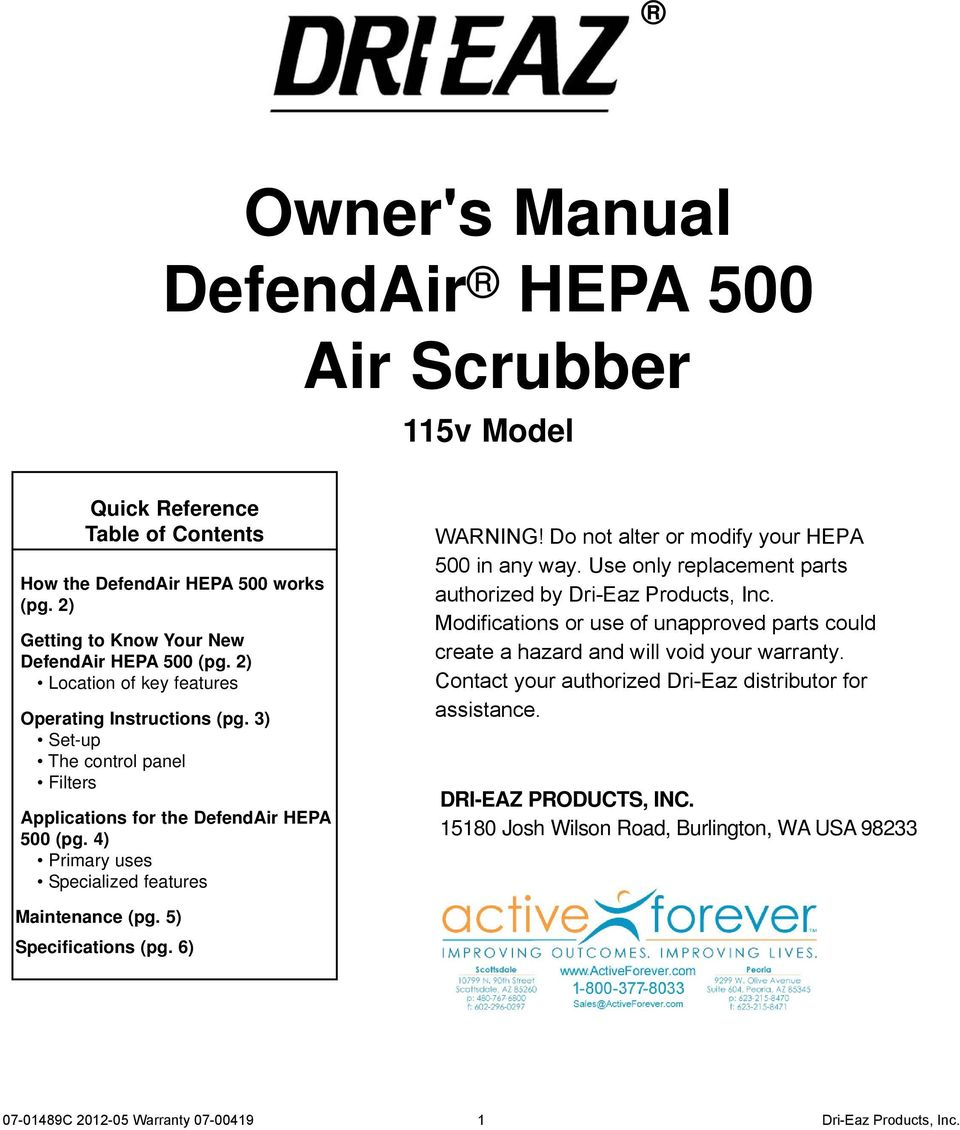 3) Set-up The control panel Filters Applications for the DefendAir HEPA 500 (pg.