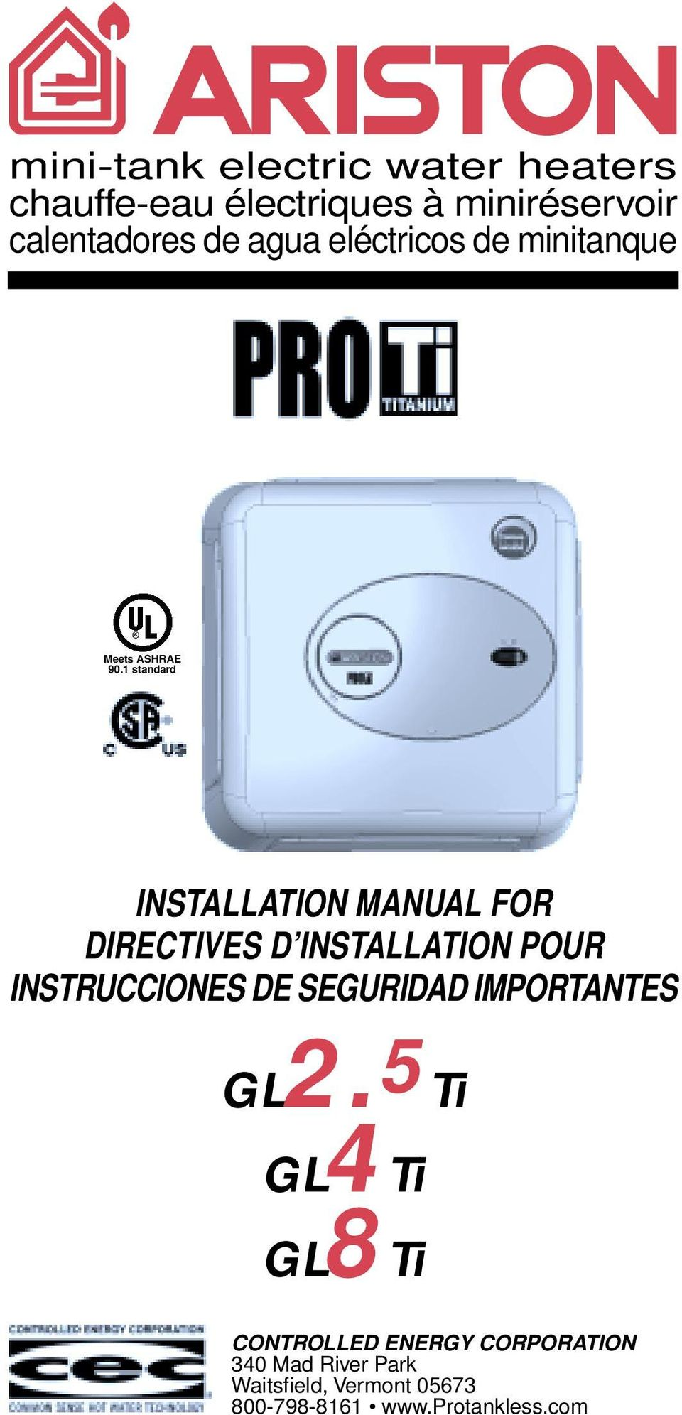 1 standard INSTALLATION MANUAL FOR DIRECTIVES D INSTALLATION POUR INSTRUCCIONES DE