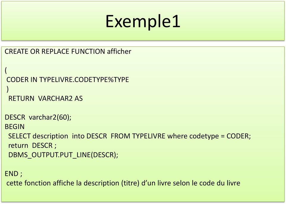 DESCR FROM TYPELIVRE where codetype = CODER; return DESCR ; DBMS_OUTPUT.