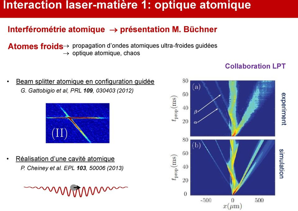 Collaboration LPT Beam splitter atomique en configuration guidée G.