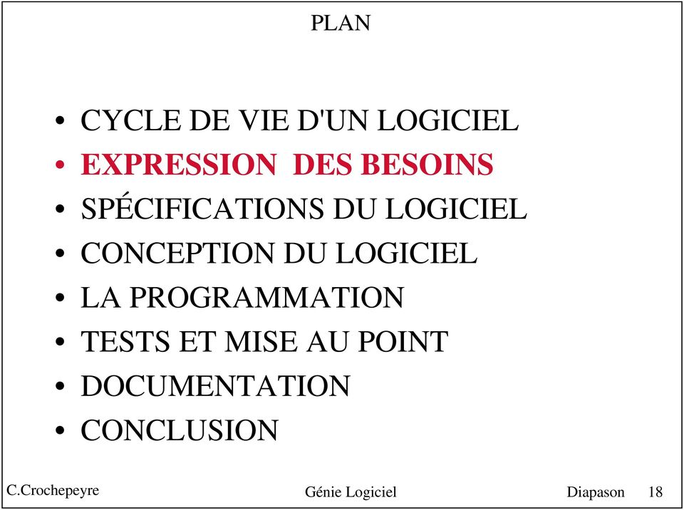LOGICIEL LA PROGRAMMATION TESTS ET MISE AU POINT