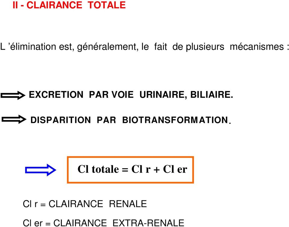 BILIAIRE. DISPARITION PAR BIOTRANSFORMATION.