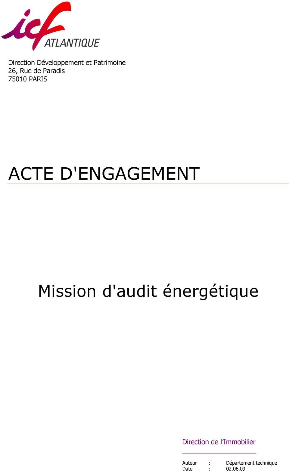 Mission d'audit énergétique Direction de l