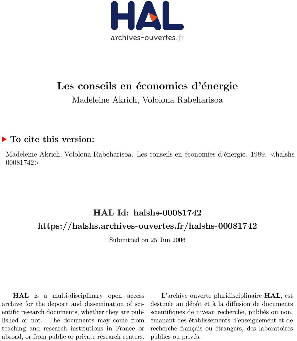 fr/halshs-00081742 Submitted on 25 Jun 2006 HAL is a multi-disciplinary open access archive for the deposit and dissemination of scientific research documents, whether they are published or not.