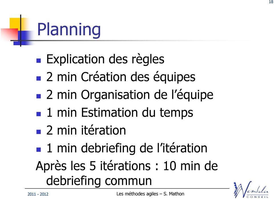Estimation du temps 2 min itération 1 min debriefing