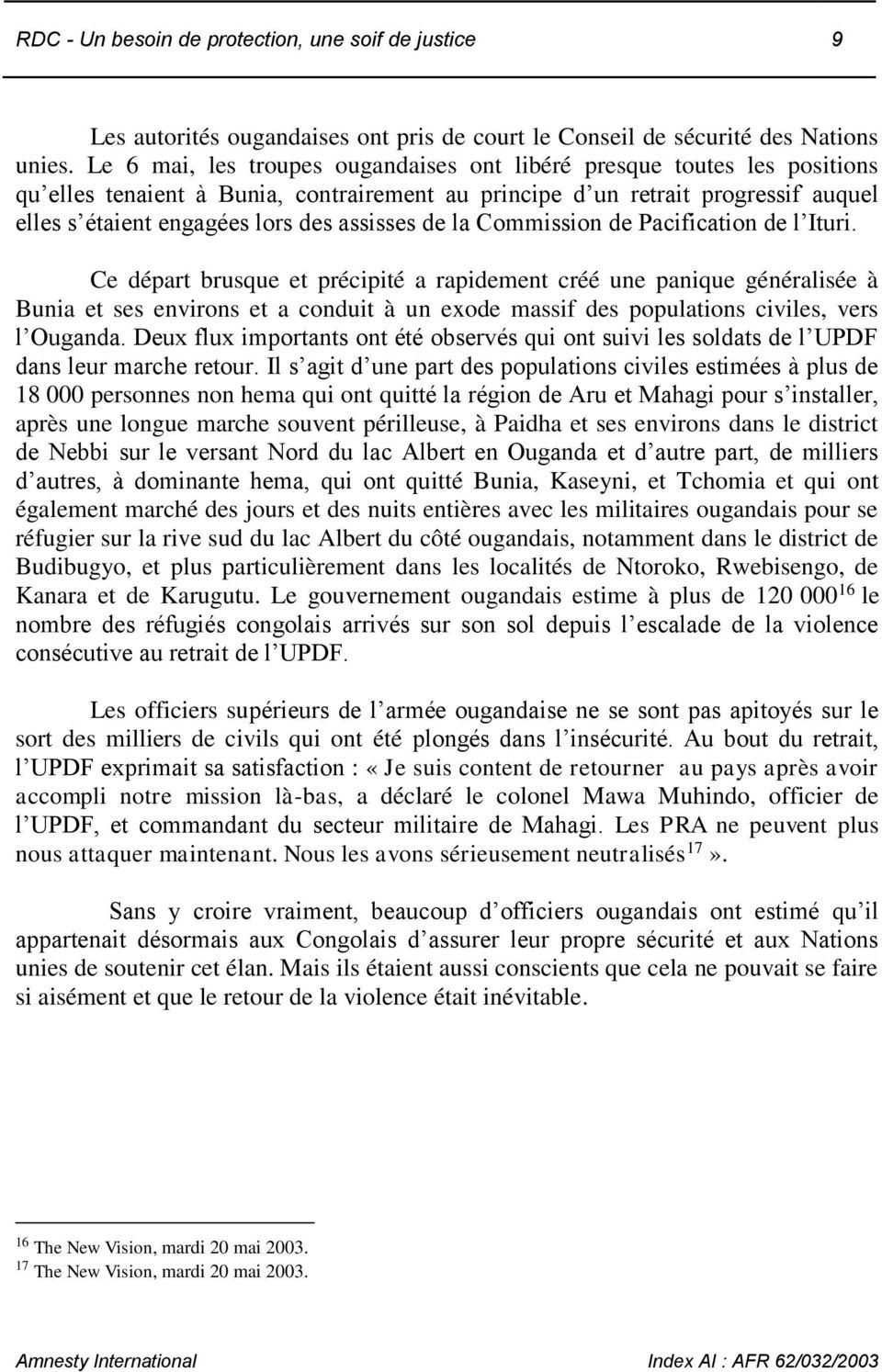 assisses de la Commission de Pacification de l Ituri.
