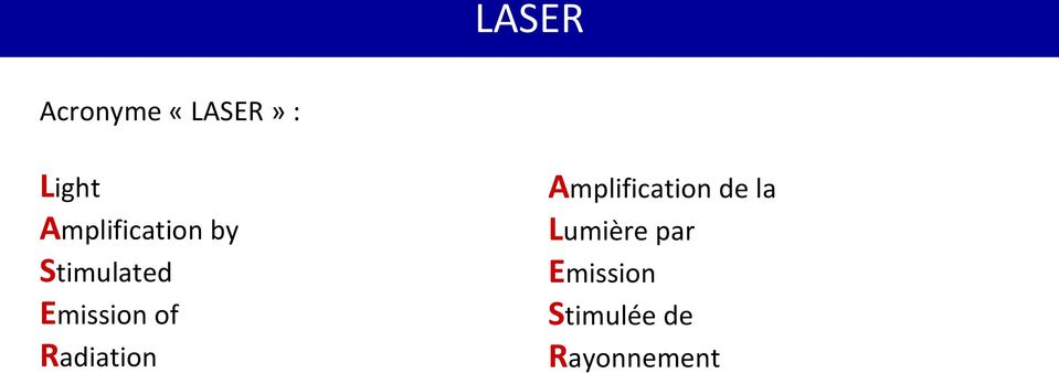of Radiation Amplification de la