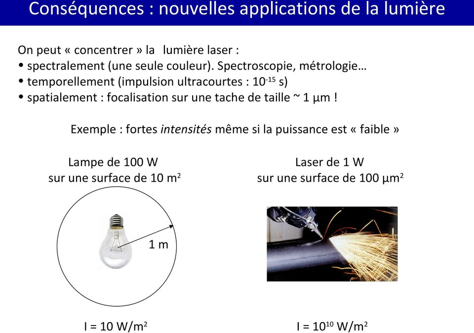 Spectroscopie, métrologie temporellement (impulsion ultracourtes : 10-15 s) spatialement : focalisation sur