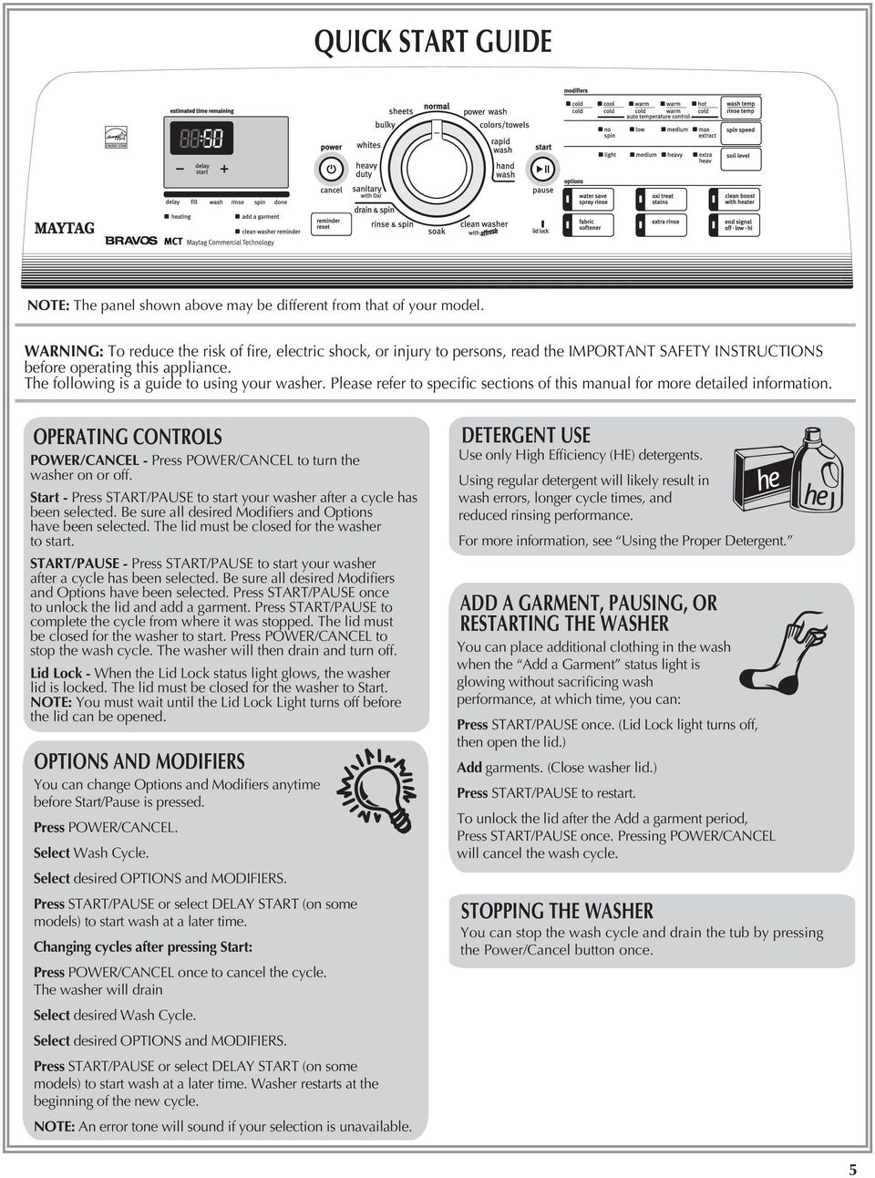 Please refer to specific sections of this manual for more detailed information. OPERATING CONTROLS POWER/CANCEL - Press POWER/CANCEL to turn the washer on or off.