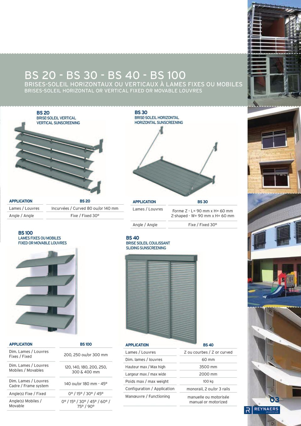 louvres Application BS 30 Forme Z - L= 90 mm x H= 60 mm Z-shaped - W= 90 mm x H= 60 mm Angle / Angle Fixe / Fixed 30 BS 40 brise soleil coulissant sliding sunscreening Application bs 100 Dim.