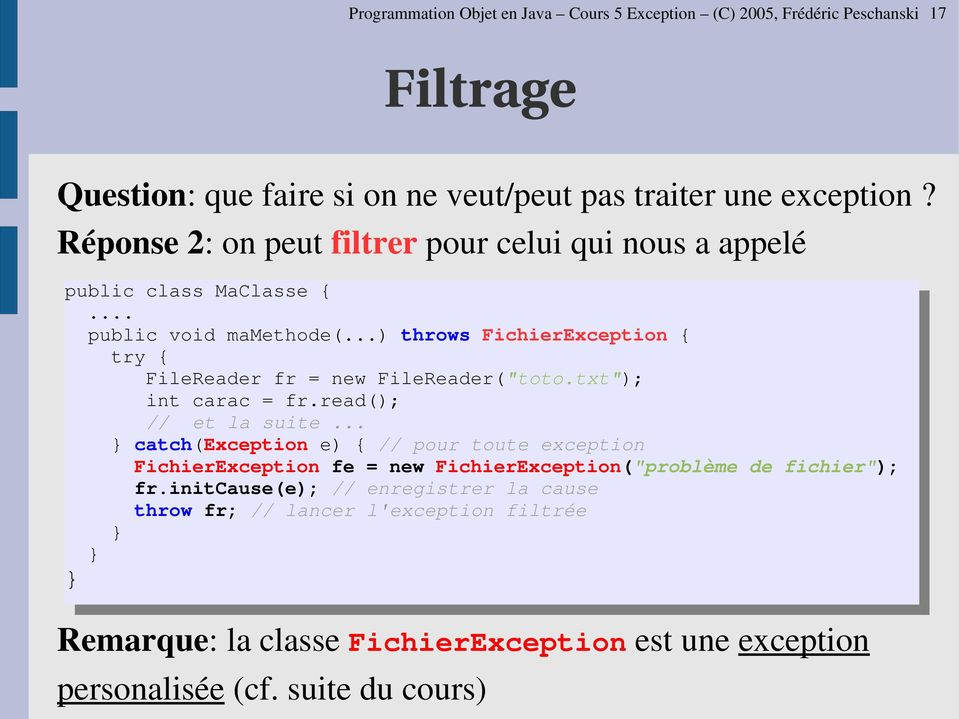 "..) throws FichierException { try { FileReader fr = new FileReader(""toto.txt""); int carac = fr.read(); // et la suite."