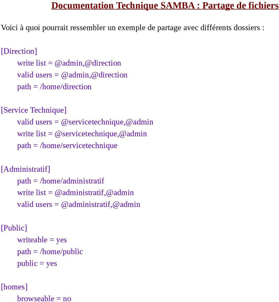 = @servicetechnique,@admin path = /home/servicetechnique [Administratif] path = /home/administratif write list =