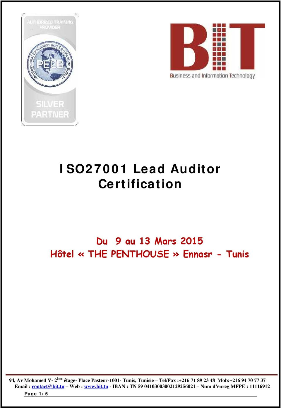 iso27001 lead auditor certification pdf