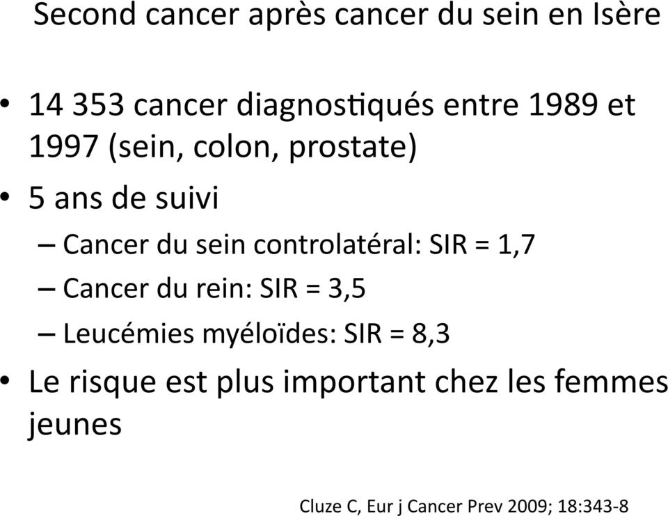 controlatéral: SIR = 1,7 Cancer du rein: SIR = 3,5 Leucémies myéloïdes: SIR =