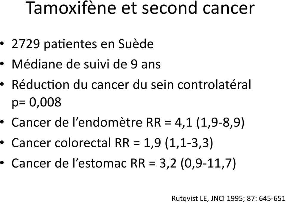 l endomètre RR = 4,1 (1,9-8,9) Cancer colorectal RR = 1,9 (1,1-3,3)