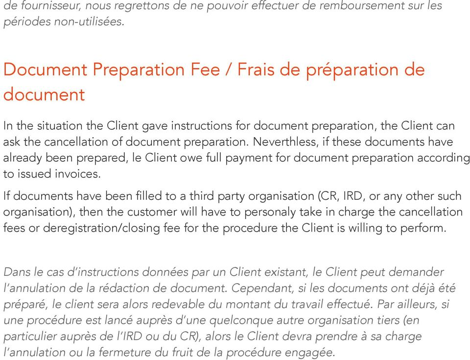 Neverthless, if these documents have already been prepared, le Client owe full payment for document preparation according to issued invoices.