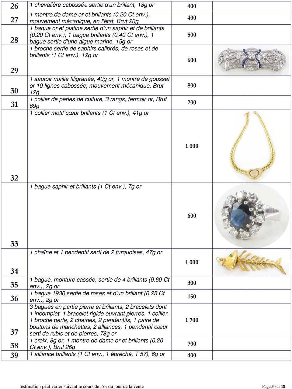 ), 1 500 bague sertie d'une aigue marine, 15g or 1 broche sertie de saphirs calibrés, de roses et de brillants (1 Ct env.