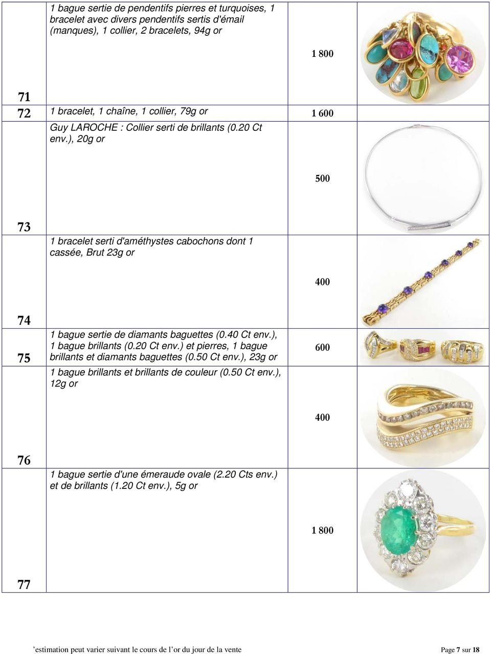 ), 20g or 500 73 1 bracelet serti d'améthystes cabochons dont 1 cassée, Brut 23g or 74 75 1 bague sertie de diamants baguettes (0.40 Ct env.), 1 bague brillants (0.20 Ct env.