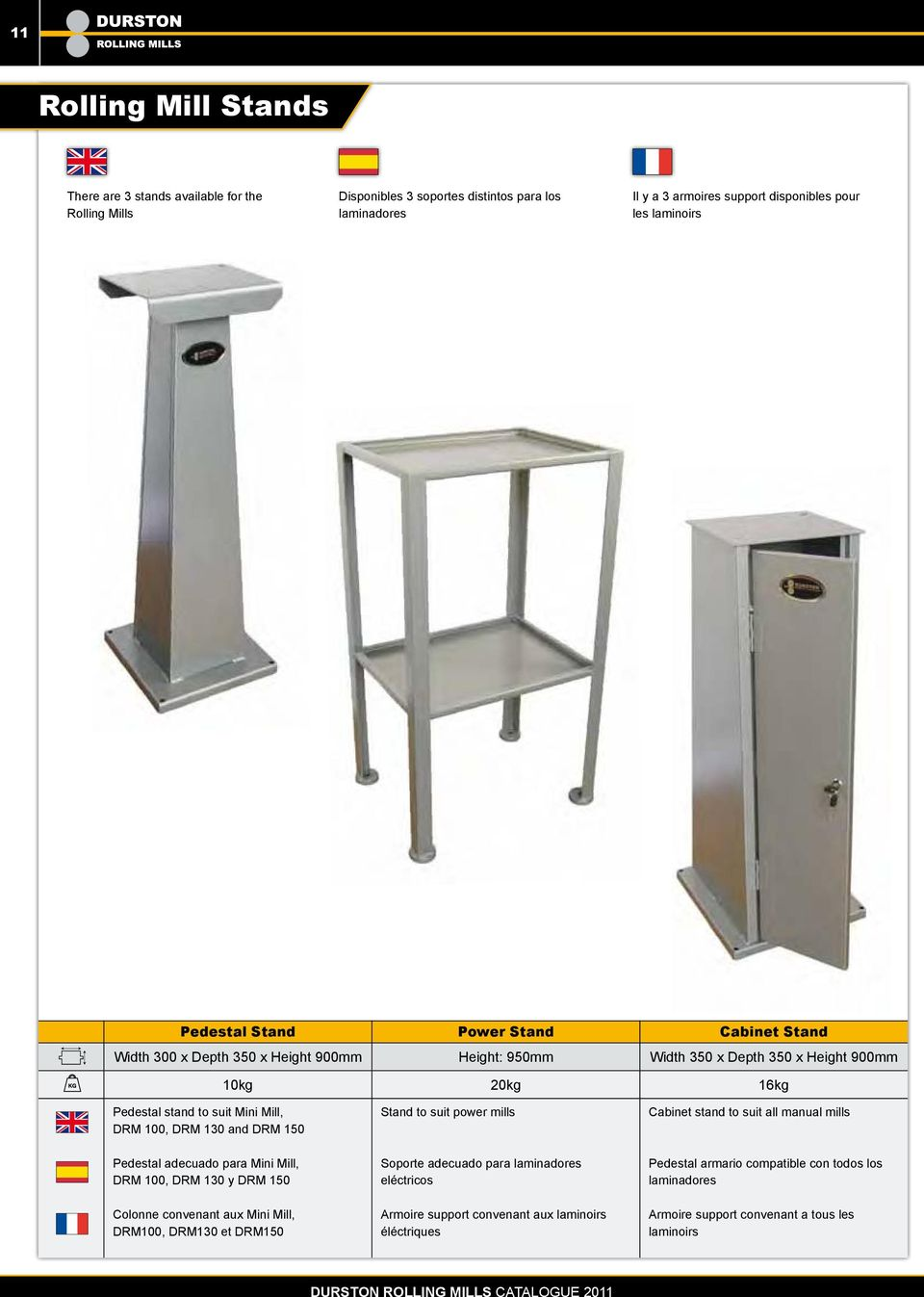 to suit power mills Cabinet stand to suit all manual mills Pedestal adecuado para Mini Mill, DRM 100, DRM 130 y DRM 150 Colonne convenant aux Mini Mill, DRM100, DRM130 et DRM150 Soporte adecuado para