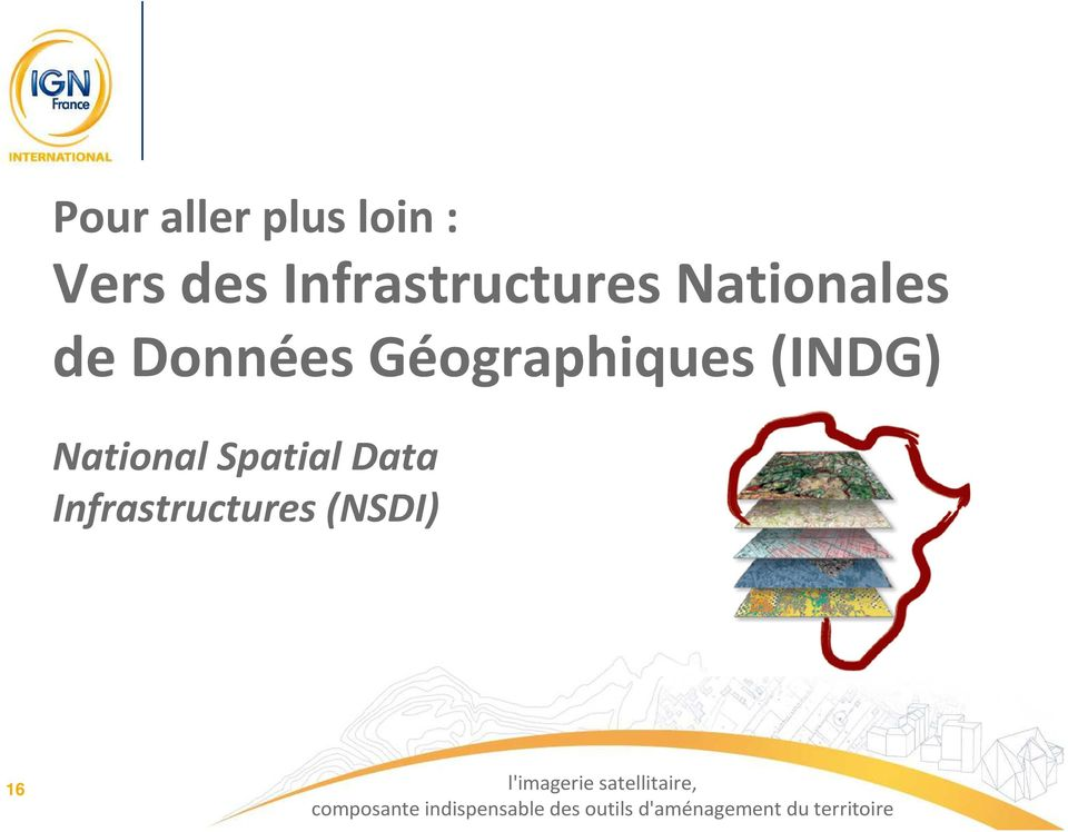 Spatial Data Infrastructures (NSDI) 16 l'imagerie