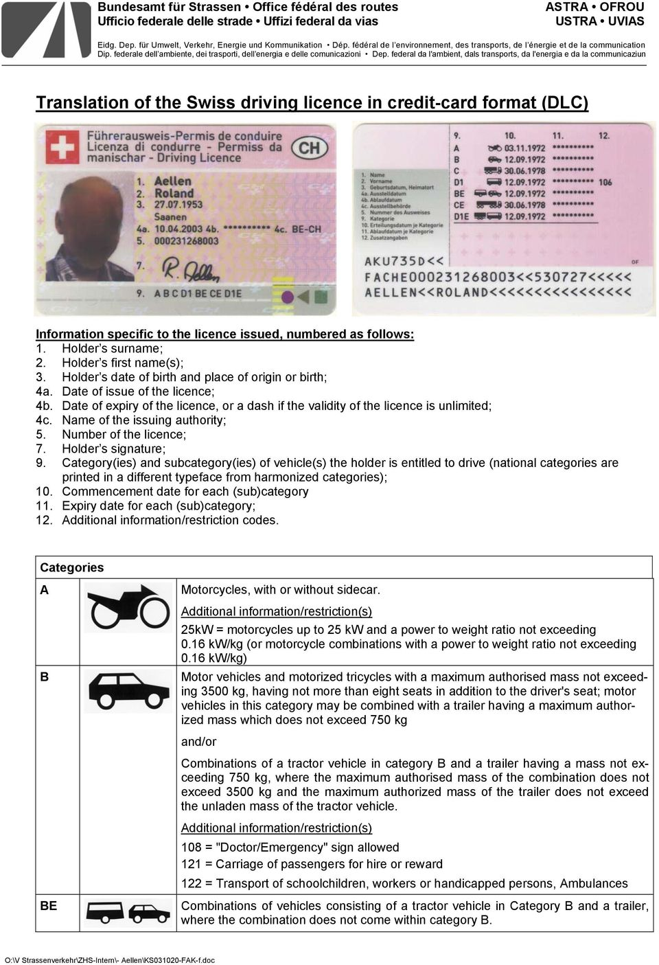 federal da l'ambient, dals transports, da l'energia e da la communicaziun Translation of the Swiss driving licence in credit-card format (DLC) Information specific to the licence issued, numbered as