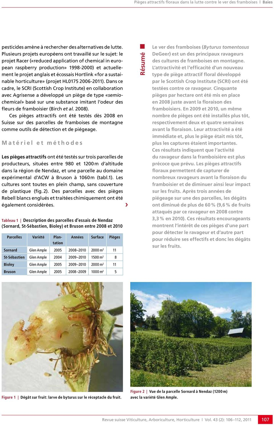 «for a sustainable horticulture» (projet HL75 26-2).