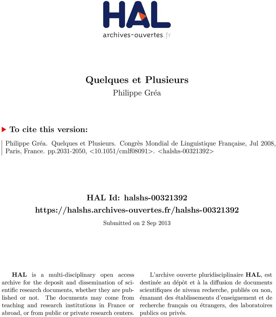 fr/halshs-00321392 Submitted on 2 Sep 2013 HAL is a multi-disciplinary open access archive for the deposit and dissemination of scientific research documents, whether they are published or not.