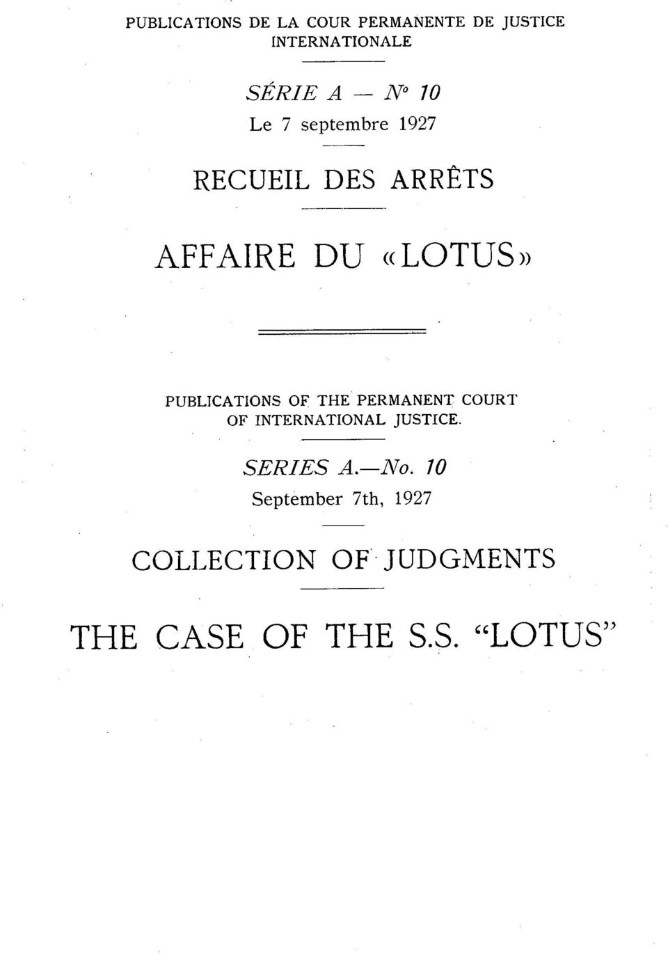 PUBLICATIONS OF THE PERMANENT COUR?' OF INTERNATIONAL JUSTICE. SERIES A.