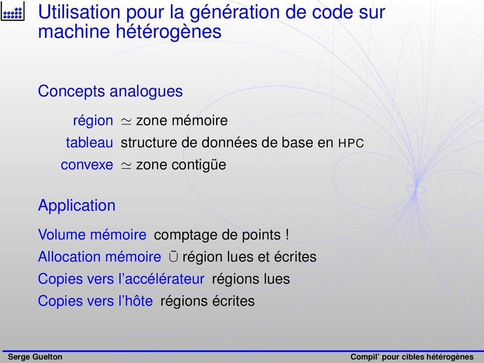 contigüe Application Volume mémoire comptage de points!