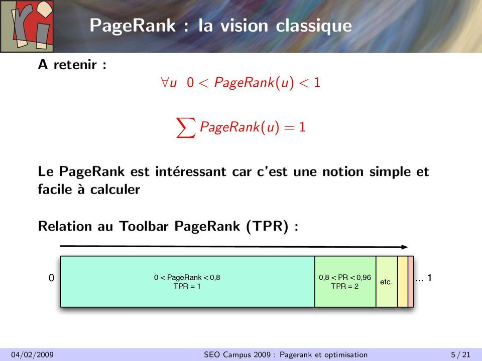 Relation au Toolbar PageRank (TPR) : 0.
