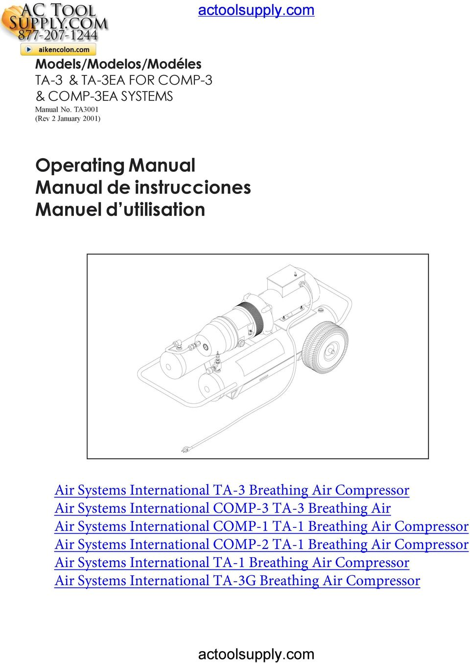 Breathing Air Compressor Air Systems International COMP-3 TA-3 Breathing Air Air Systems International COMP-1 TA-1 Breathing Air