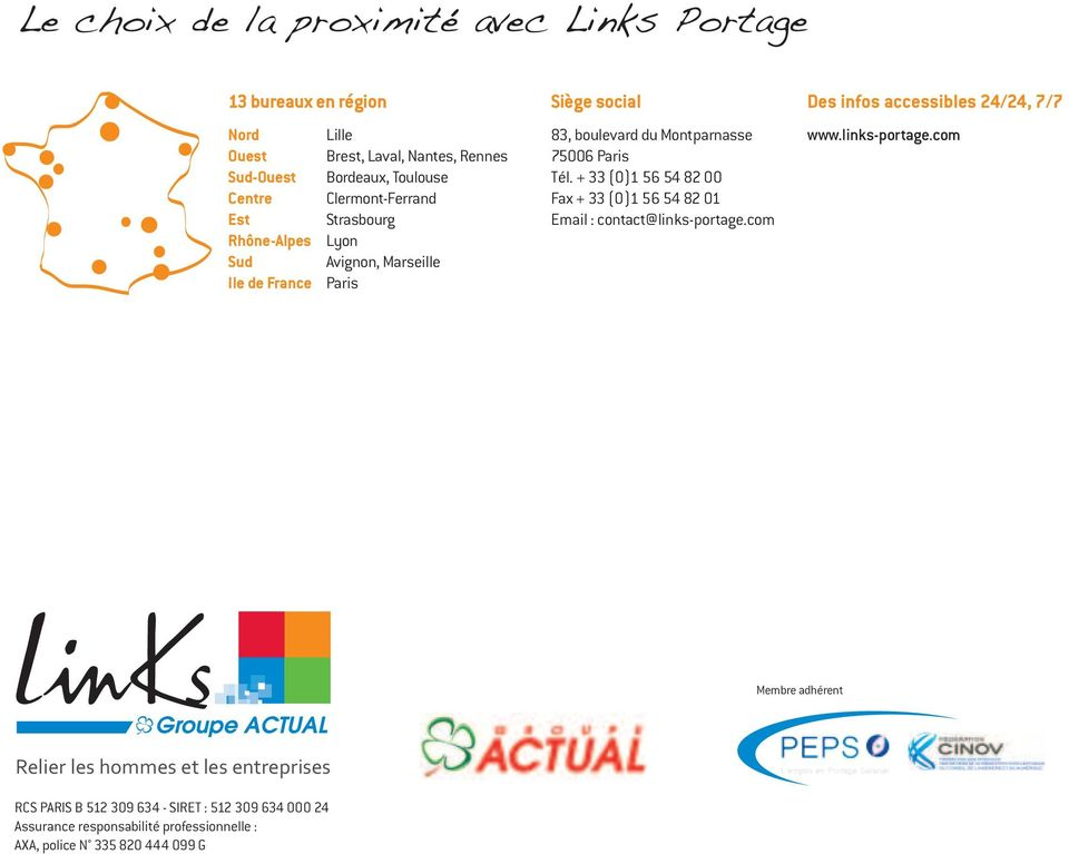 Tél. + 33 (0)1 56 54 82 00 Fax + 33 (0)1 56 54 82 01 Email : contact@links-portage.