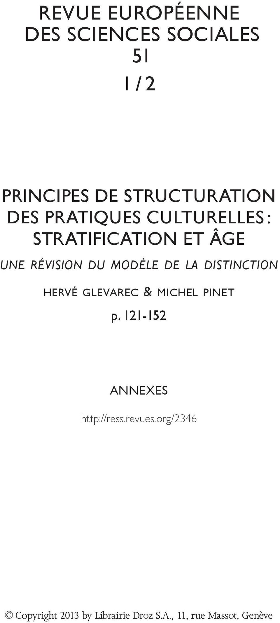 de la distinction hervé glevarec & michel pinet p.