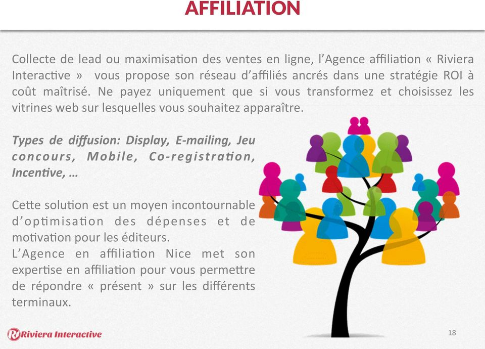 Types de diffusion: Display, E- mailing, Jeu concours, Mobile, Co- registra=on, Incen=ve, Cefe soluion est un moyen incontournable d opimisaion des dépenses