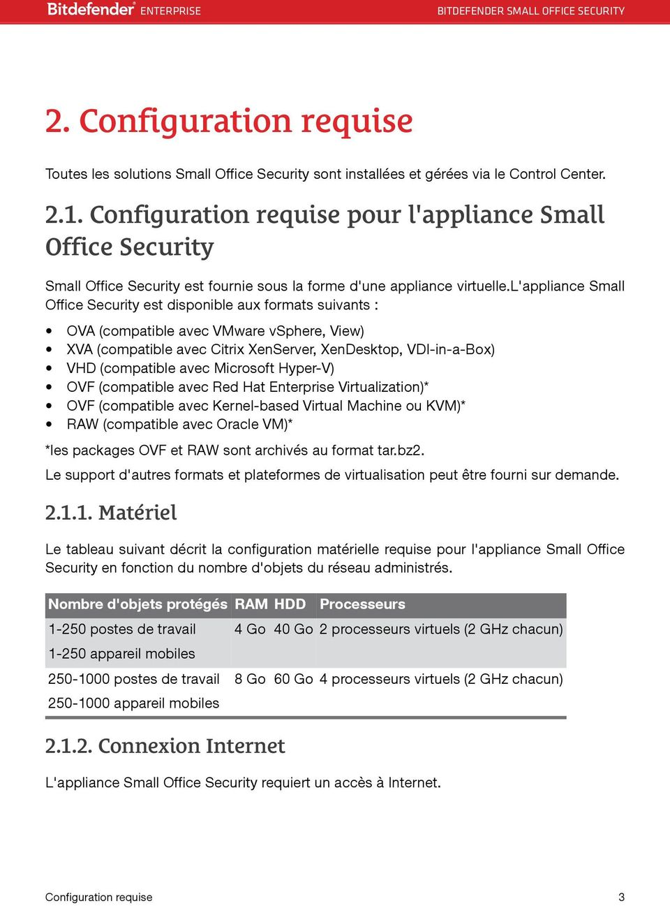 l'appliance Small Office Security est disponible aux formats suivants : OVA (compatible avec VMware vsphere, View) XVA (compatible avec Citrix XenServer, XenDesktop, VDI-in-a-Box) VHD (compatible