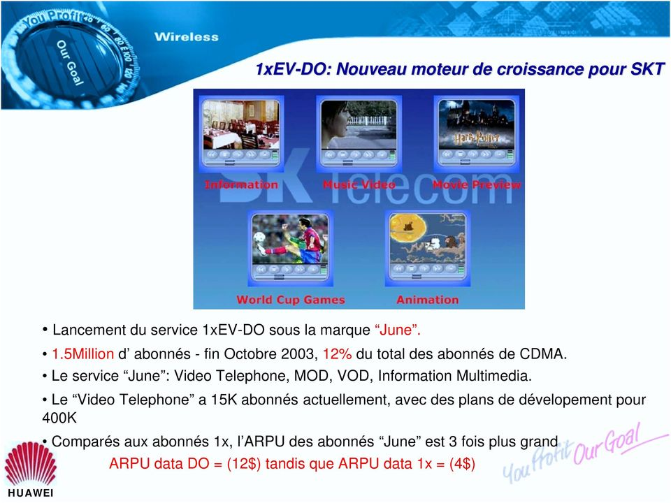 Le service June : Video Telephone, MOD, VOD, Information Multimedia.